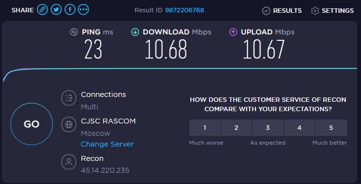 Скорость Proxys.io 10 Мб/с